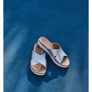 NWOB UGG Kari Metallic Leather Slide Sandal